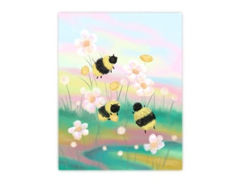 Spring Bees Art Print, beekeepers, honeybees, bee sweet, bumblebees, pollinators, springtime, nursery art