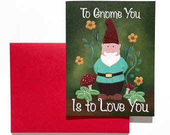 Gnome Greeting Card, Love Card, Valentines Day, Valentine Card, Cute Love Card, Cute Valentine Card, Friendship Card, Anniversary Card