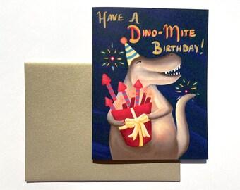T-Rex Dinosaur Birthday Card, Kid's Birthday, Birthday card for Boys and Girls, Colorful Birthday Card, Dinomite Birthday, fun t-rex card