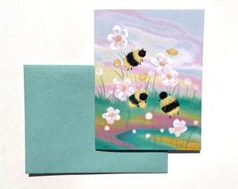 Honeybee Card, bee card, cute bee card, honeybee notecard, floral bee greeting card, colorful bee card, anytime card, bee stationery