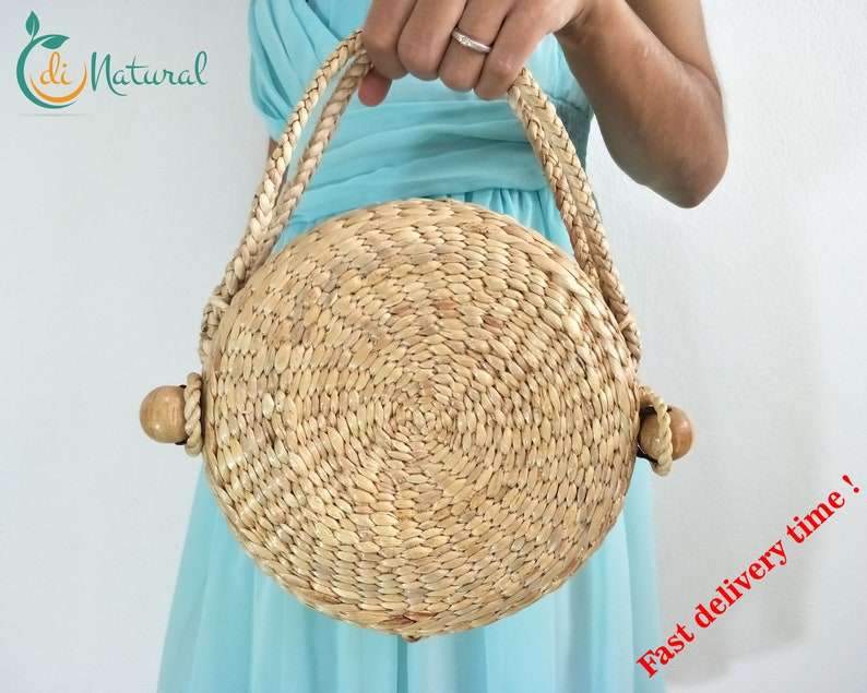 406c26dbb34e8 Round wicker bag lady. Small straw clutch with zip. Summer seagrass  wristlet purse. Buy handmade spring handbags for women in our etsy shop.