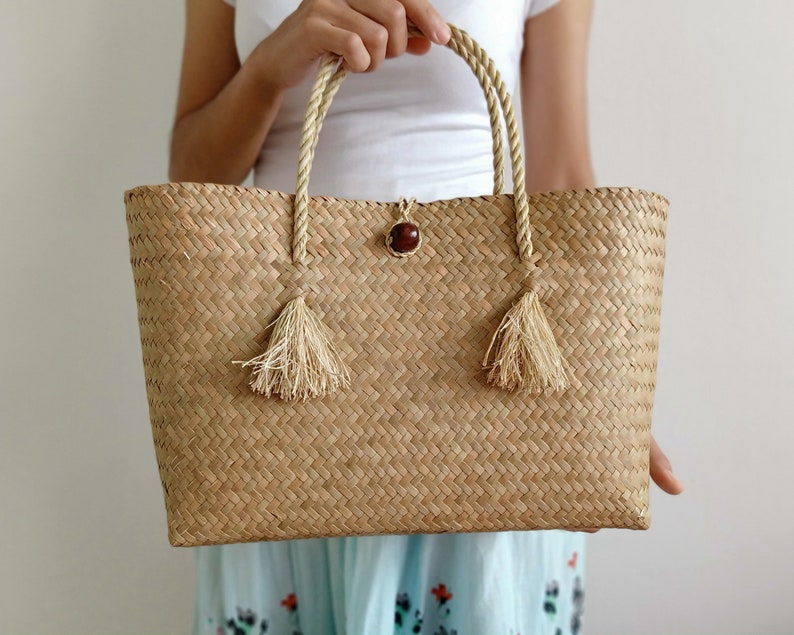 72b51e91bac5 Wicker purse. Woven straw handbag. Small beach bag handmade with tassels  handles. Summer handbags for women. Straw bags and wicker purses.