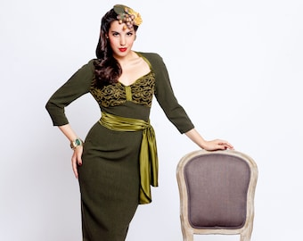 """Dress """" Arden"""", pencil dress in vintage style, 1940s, 1950s style"""