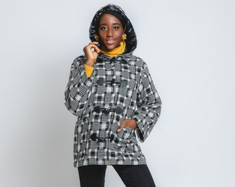 """Dufflecoat """"Greenwich Plaid"""", jacket with hood in vintage style, 1960s style"""