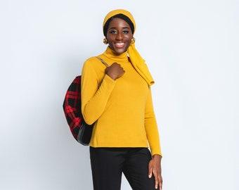 "Shirt "" Beatnik"" longsleeve saffron or black with zip,in vintage style, turtleneck sweater, jumper, 1950s 1960s style"