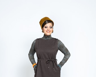 """dress """"Miss Loren Leo""""  brown and grey pencildress, vintage style"""