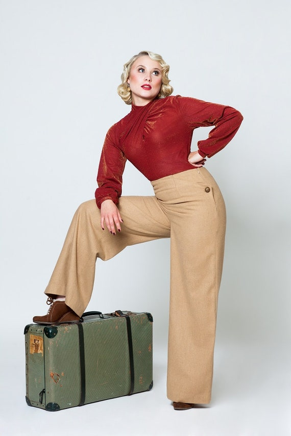 1940s Swing Pants & Sailor Trousers- Wide Leg, High Waist Trousers