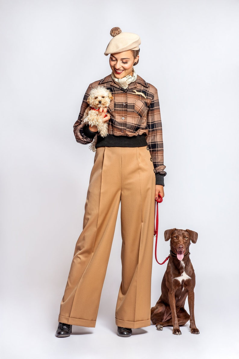 1940s Swing Pants & Sailor Trousers- Wide Leg, High Waist pants