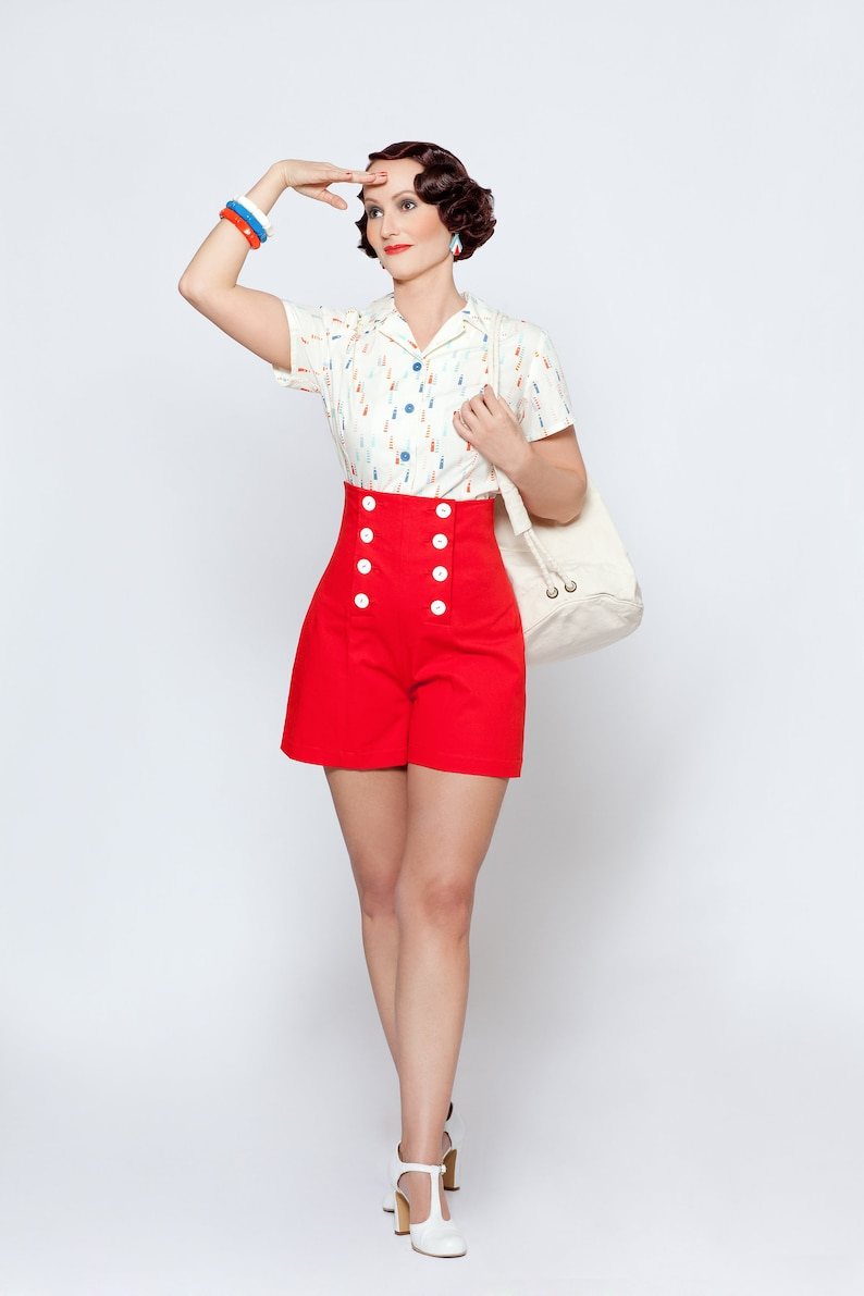 1930s Outfit Inspiration – Women's Clothing Ideas Whiteley blouse maritime blouse with lighthouses in vintage style $165.62 AT vintagedancer.com