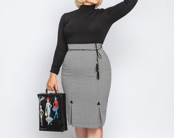 """Pencil skirt """"Francoise"""" with basement folds, in vintage style, 1950s 1960s style"""