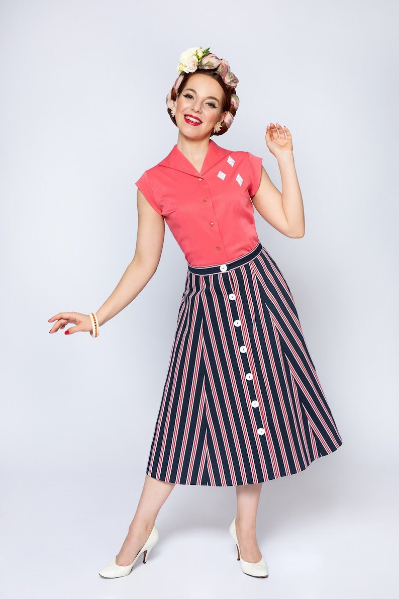 1940s Style Skirts- Vintage High Waisted Skirts gored skirt