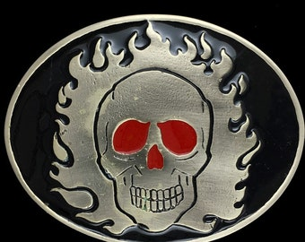 Made in UK NEW FLAMING SKULL BELT BUCKLE Skeleton Gothic Biker