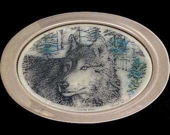 Running Wolves Western Belt Buckle on Copper