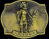 Brass Native American Arizona Morning Kachina Doll Hopi Indian Gift Southwest Western Artwork Art 1970s NOS Vintage Belt Buckle O358