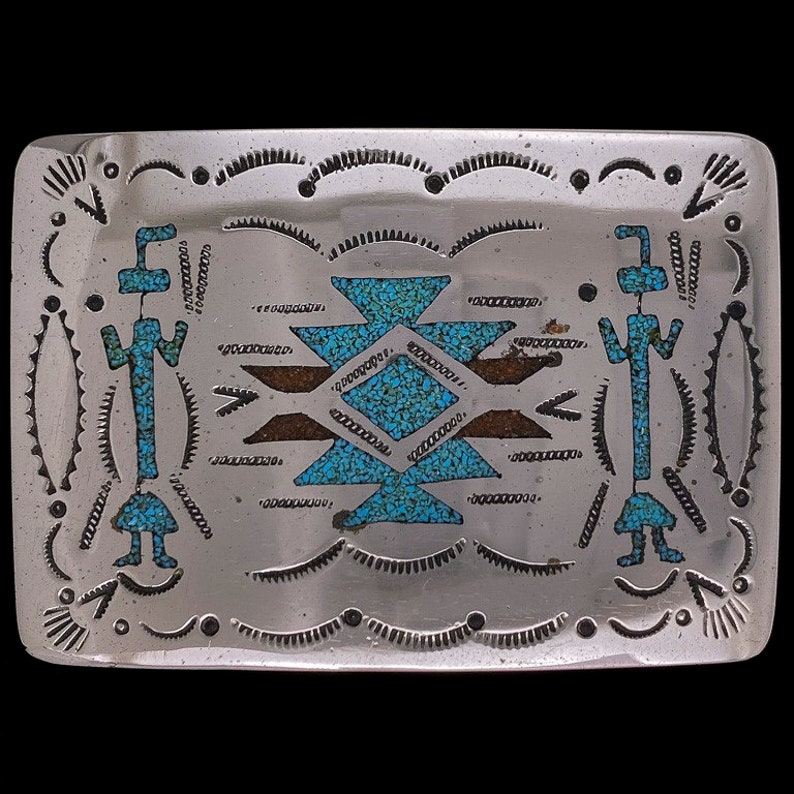 Kachina Turquoise Coral Native American Tribal Indian Artwork Art Southwest Hippie Western Cowgirl Gift N Silver NOS Vintage Belt Buckle