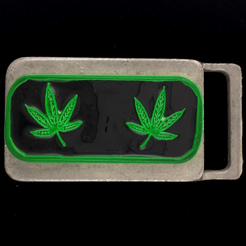 Pot Leaf Cannabis Marijuana 420 Stoner Hippie Weed Smoker Memorabilia Collectible Original 1980s Nos Vintage Belt Buckle