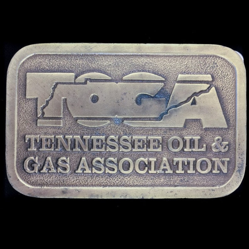 Toga Tennessee Oil And Gas Association Tn Crude Oilfield Oil Field  Advertising Vintage Belt Buckle