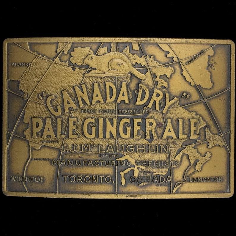 Canada Dry Pale Ginger Ale Toronto Canada Brass Collectible Commemorative Memorabilia 1980s Vintage Belt Buckle