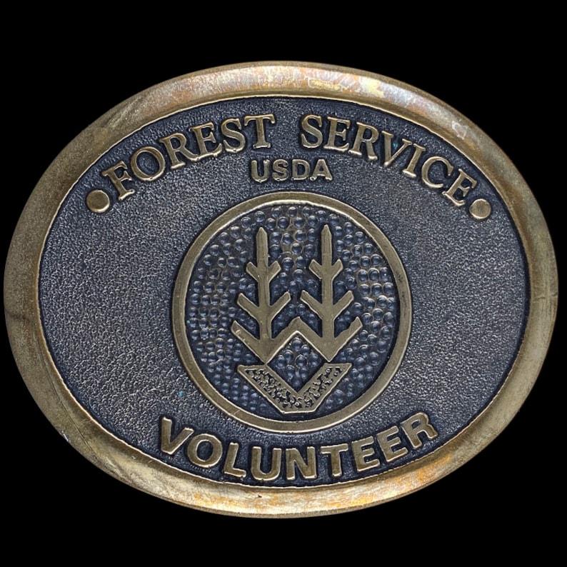 Vintage Forest Service Usda Volunteer Western Heritage Collectible Memorabilia  Organizations Bronze 1980s Vintage Belt Buckle