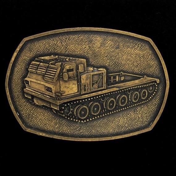 Continuous Track Truck Military Bulldozer Tank Vehicle Earth Mover Commemorative Collectible Memorabilia 1980s Vintage Belt Buckle