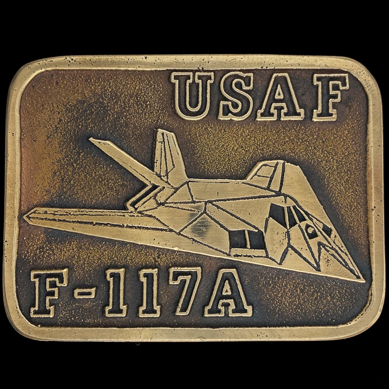 Usaf Lockheed F-117a Nighthawk Jet Aircraft Aviation Military Soldier Vet Veteran Gift Collectible Bronze 1990s NOS Vintage Belt Buckle