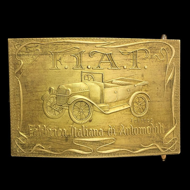 Rare Antique Fiat Motor Italy Italian Classic Torpedo Car Collectible Memorabilia Baystate Jewelry 1970s Solid Brass Vintage Belt Buckle
