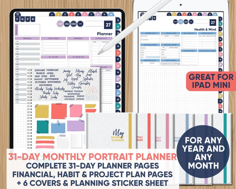 Complete 31-Day DIGITAL Monthly Portrait Planner for Any Year with 6 Covers  + Sticker Sheet - for GoodNotes, Notability, Xodo, and PDF apps