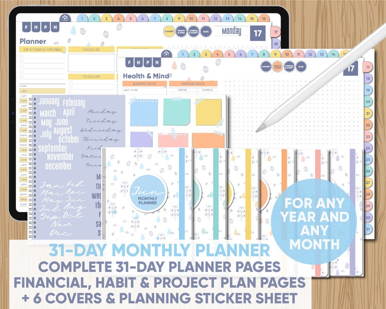 Complete 31-Day DIGITAL Monthly Planner for Any Year/Month with 6 Covers +  Sticker Sheet - for GoodNotes, Notability, Xodo, and PDF apps