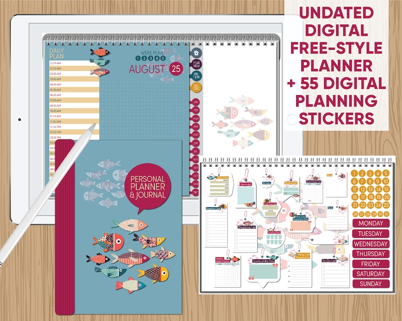 image relating to Free Digital Planner Pdf named Electronic Undated Free of charge-Layout Planner with 55 Electronic Stickers - Software it your personal route - for GoodNotes, Notability, Xodo and other PDF purposes