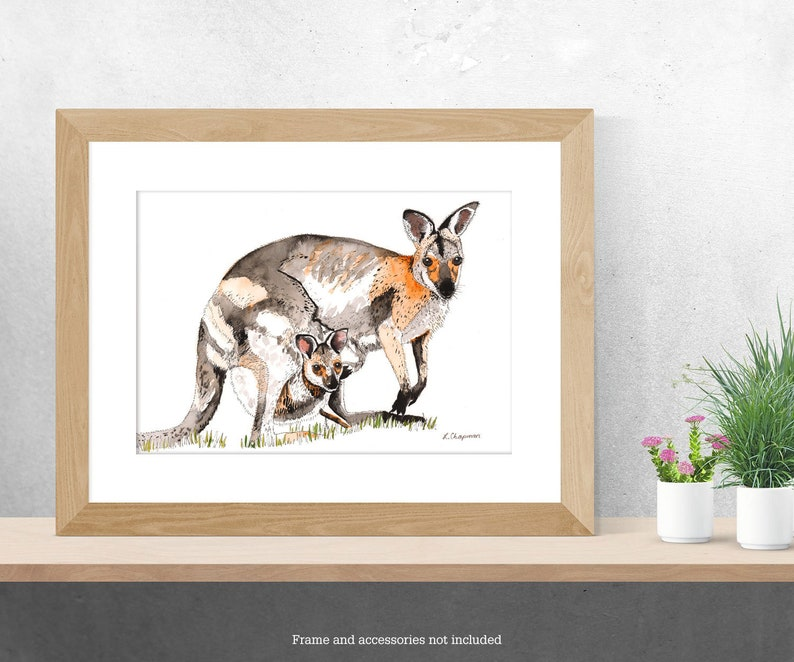 Red necked wallaby watercolour painting image 0