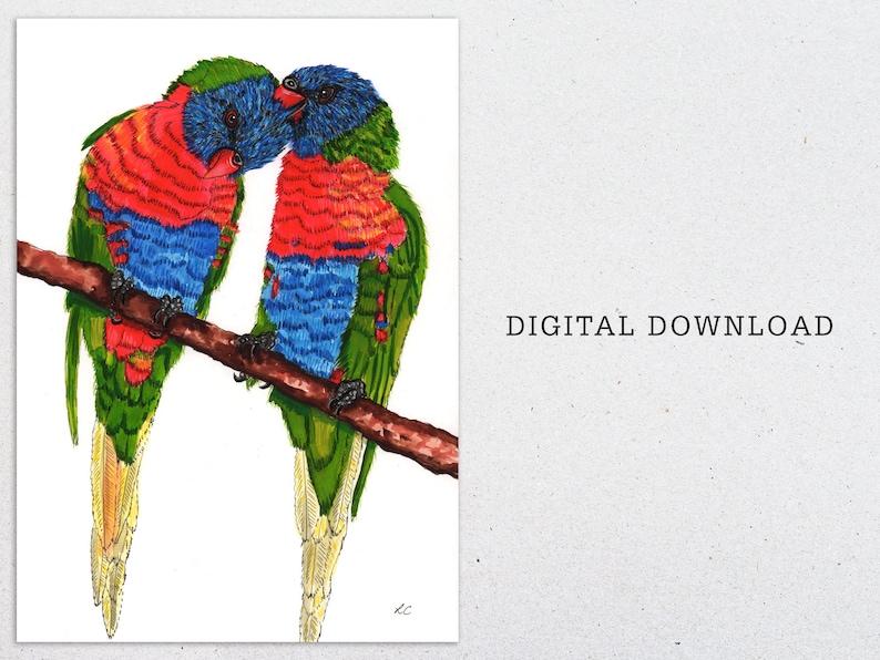 Rainbow Lorikeets in tree watercolour print digital download image 0