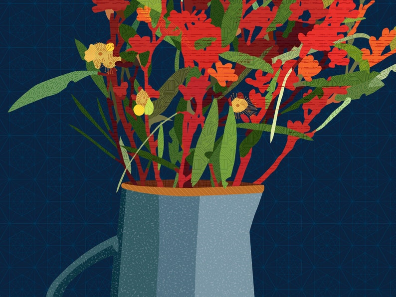 Eucalyptus arrangement vase poster print image 0