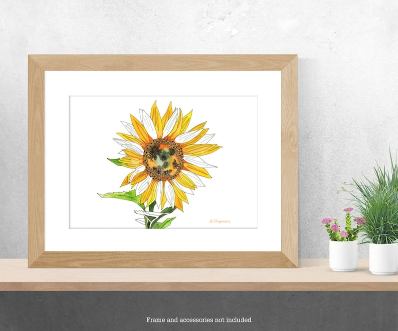 Sunflower watercolour painting image 0