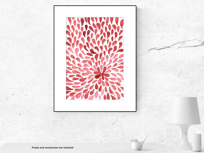 Abstract pink flower watercolour painting original image 0