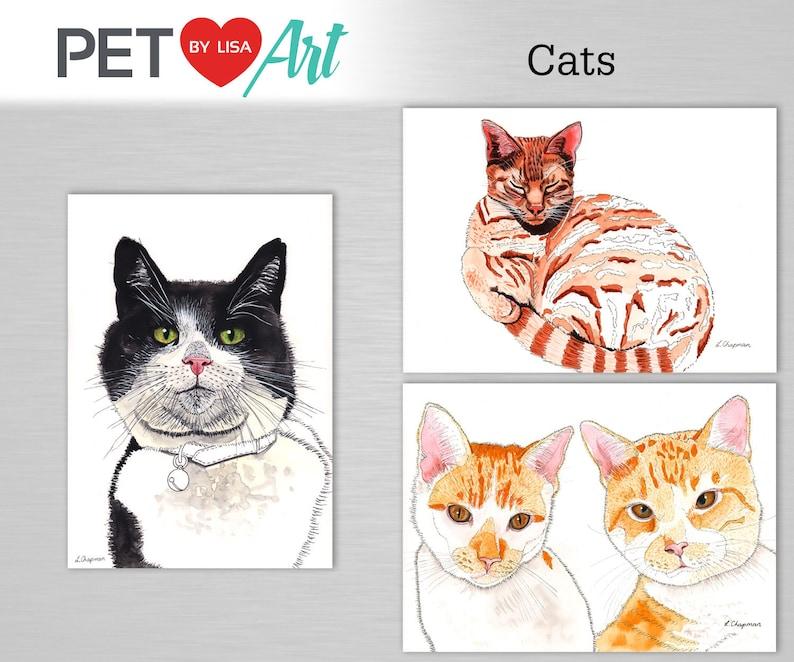 Custom cat portrait watercolour painting image 0