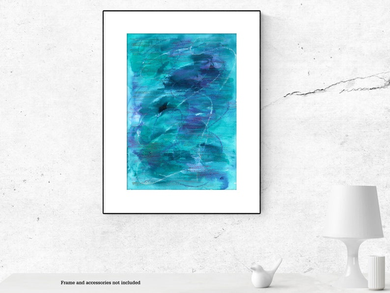 Abstract blue watercolour painting original image 0