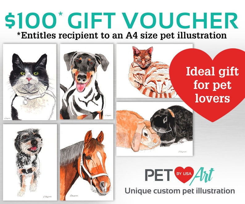 Custom pet portrait gift voucher image 0