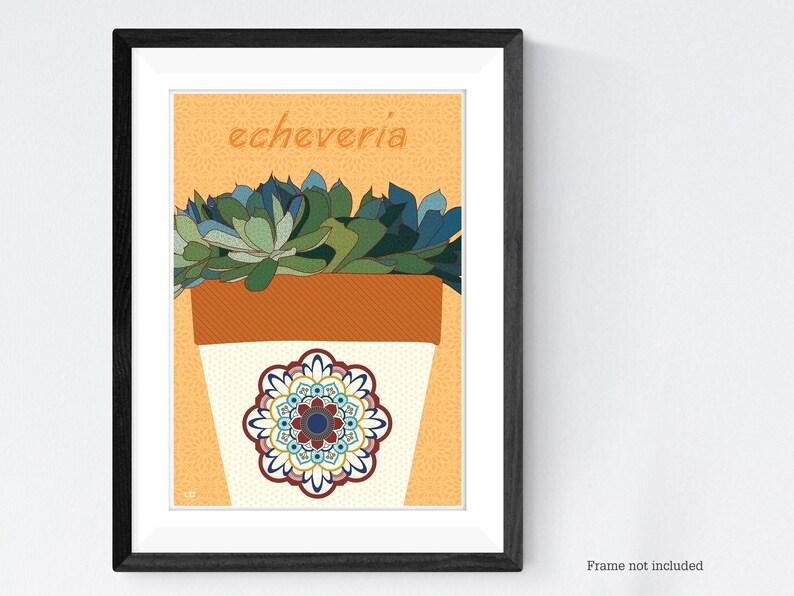 Succulent pot plant poster print image 0