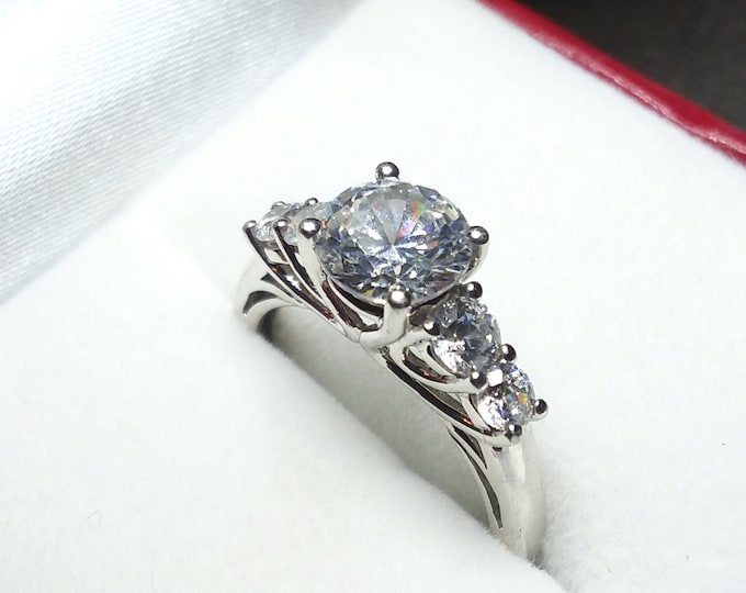 Beautiful Step Set Old European Style Simulant April Birthstone DIAMOND Euro Ring PNWWildCabinDesigns Stackable Sterling