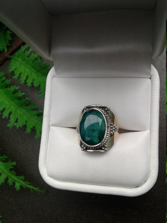 EMERALD Ring | Raw Green Emerald | Large Stone Rin