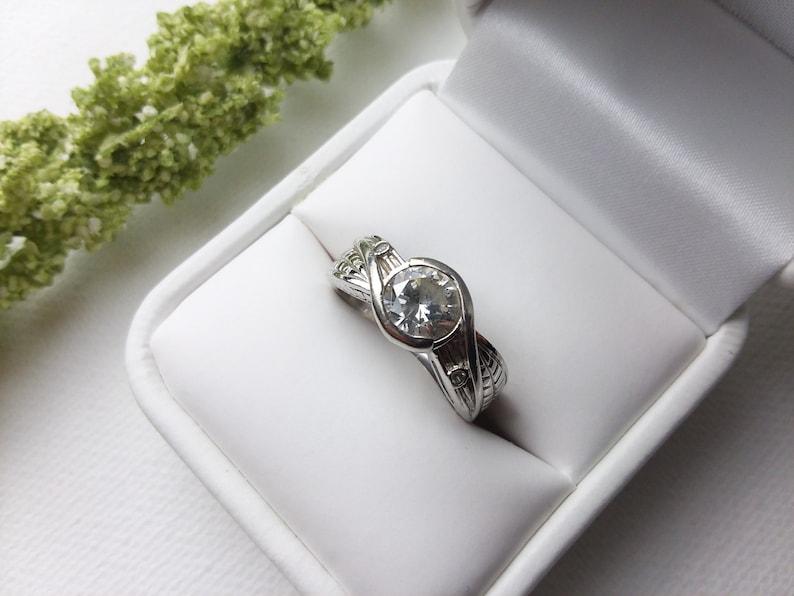 Sold By PNWAprilDawn Size8 US - WeddingEngagementLover- Bezel Set- Sterling Silver Holiday Price Cut! Sim. LEAF Diamond Ring