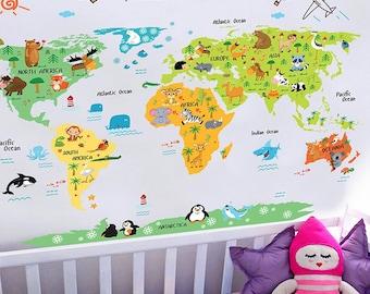 Cartoon world map   Etsy