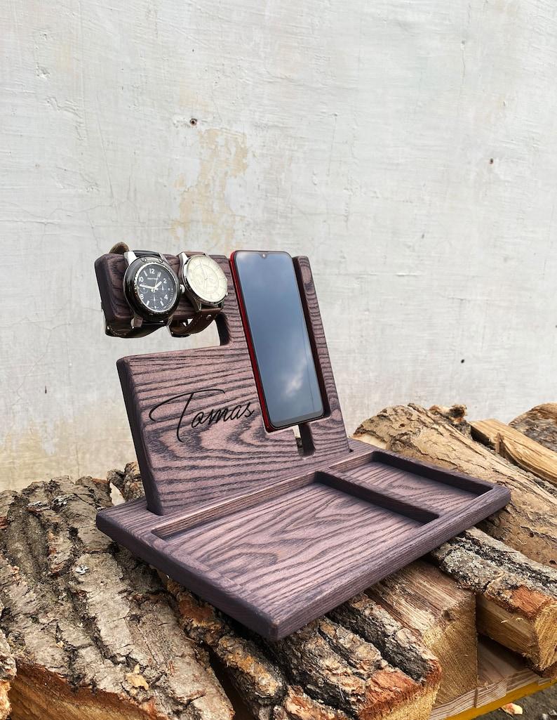 Nightstand Organizer for Men Nightstand Organizer Charging Dock Nightstand Docking Station Charging 5th Anniversary Gift for Him Wood