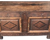 Charming Antique 18th English Oak Mule Chest, Coffer, Cabinet, Blanket Box