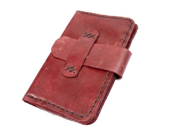 Tui En Cuir Rouge Pour Les Cartes Espces De Visite Documents Mobile Lecteur MP3 Carte