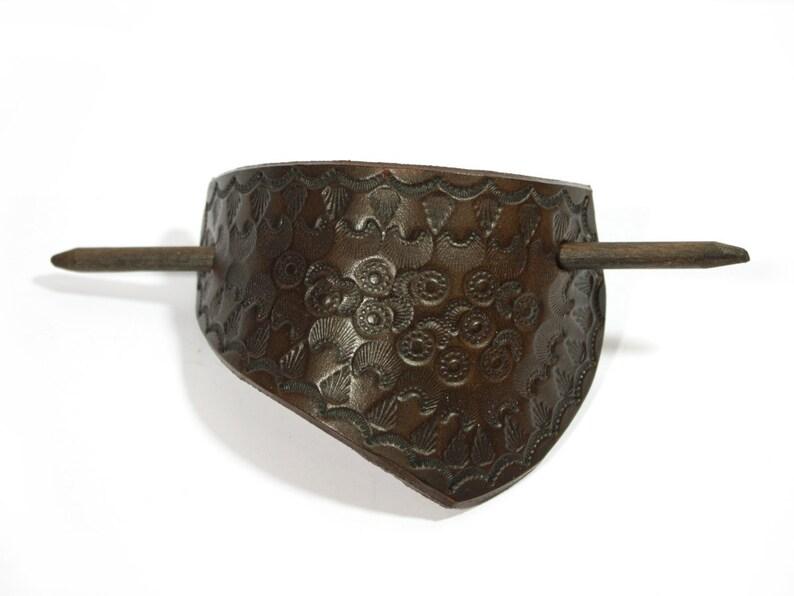 summer Leather barrette carved ornament womens dark brown hair clip hippie festival boho leather hair slide Ethno handmade