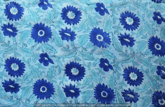 5,20Yard Flower Hand Made Block Print Fabric Beautiful Indian 100/% Cotton Fabric