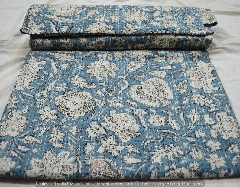 New Baby Quilt Hand Block Bedding Blanket Bedspread Handmade Ethnic Flower Print