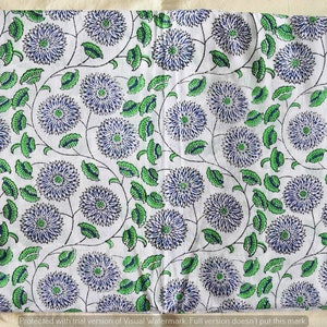 Rug Making Craft Sewing Materiel Hand Block Print Indian Beautiful Flower Print Dressmaking Running Loose Fabric By 5 Yard Throw Quilting