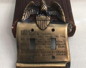 Vintage USA Federal Eagle Lightswitch Cover Plate Brass GIM 3048 MC Co John Adams